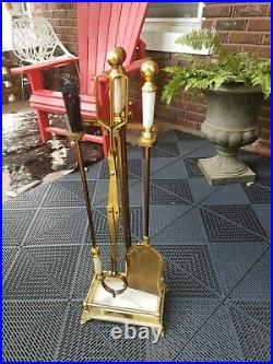 VTG FIREPLACE TOOL SET 5-Piece BRASS AND MARBLE