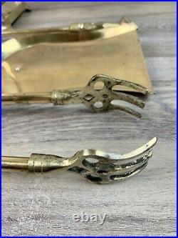 VTG Mid Century 4 Piece Brass Fox Head Fireplace Tool Set Black Brush Rare
