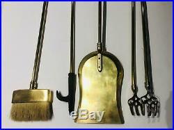 VTG Mid Century Five 5 Piece Brass Horse Head Fireplace Tool Set Brown Brush