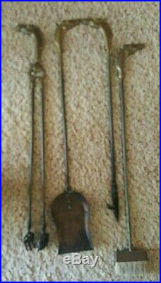 VTG Solid BRASS HORSE HEAD HANDLE FIREPLACE TOOL SET RANCH CABIN Equestrian RODE