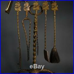 Victorian Antique Nautical Fireplace LARGE Brass Tool Set Sailing Ship Motif
