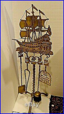Victorian Antique Nautical Fireplace brass tools Sailing Ship Motif large set