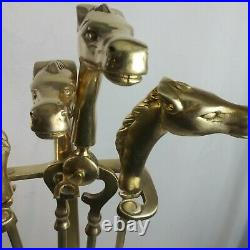 Vintage 1950's Equestrian Horse Head Solid Brass Fireplace Tool Set 5 Pieces