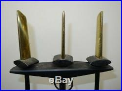 Vintage 1950s Donald Deskey Mid Century Bennett 3 Piece Fireplace Tool Set