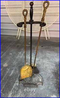 Vintage 1960s fireplace tool set and wood holder with peacocks