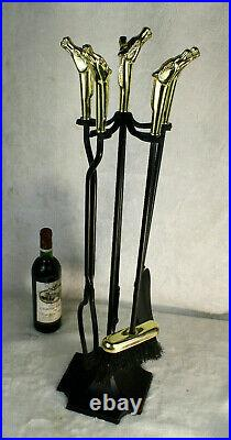 Vintage 1970 Cast iron equestrian horse head fireplace tool set