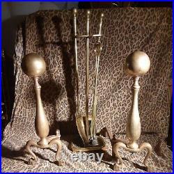 Vintage 20 Yellow Brass Cannonball Sheffield Fireplace Andirons & 28 Tool Set