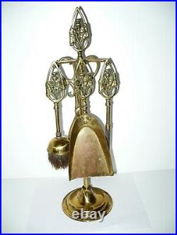 Vintage 5 Pc Brass Petite Thistle Fireplace Poker Tool Set Brush Shovel Scottish