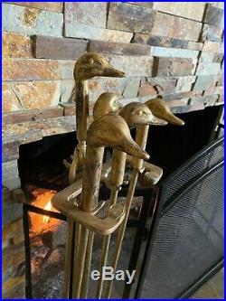 Vintage 5 Piece BRASS DUCK FIREPLACE POKER SETMallard Fire ToolBrushShovel