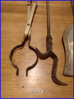 Vintage 5 Piece Brass Fireplace Tool Set