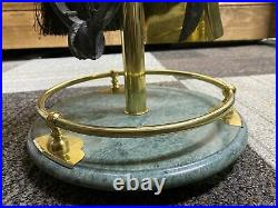 Vintage 5-piece Brass Fireplace Tool Set With marble/ Cast-iron base stand 32in