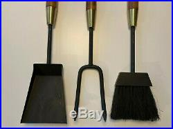 Vintage 60s Midcentury Modern Fireplace Tools Set Iron, Brass & Wood by Seymour