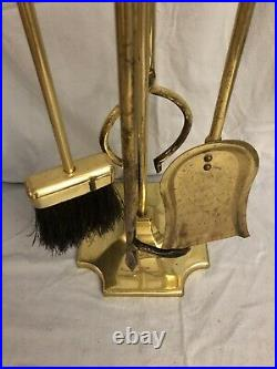 Vintage ADAMS Solid Brass 5 pcs Fireplace Tool Set 100520 Excellent Condition