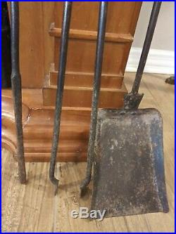 Vintage Antique Bee Hive Bronze or Brass and Iron Fireplace Tool Set of 3