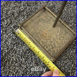 Vintage Antique Brass & Iron Fireplace Tool Set 5 Pc EUC Mid Century
