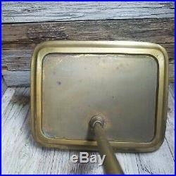 Vintage Antique Brass Tone Fireplace 5 Piece Tool Accessory Kit Broom Shovel