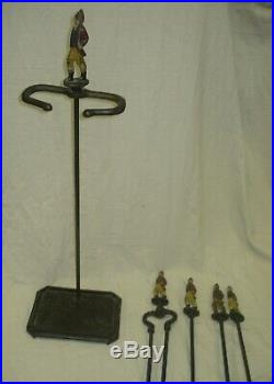 Vintage Antique British Painted Hunter Fireplace 5 Pc Iron Fire Tool Set / Stand