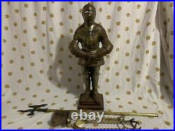 Vintage Antique Cast Iron Fireplace Fire Tools Set Guard Midieval Knight Armor