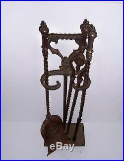 Vintage Antique Cast Iron Fireplace Tool Set Ornate Twist Design