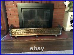 Vintage Antique Fireplace Fender 58 Brass Paw Feet Regency Original Tool Set