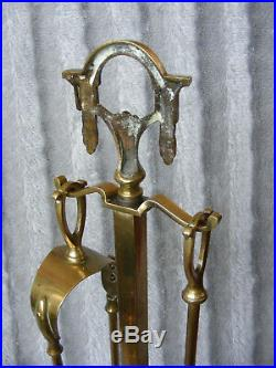Vintage Antique French Style Brass Fireplace Fireside Companion Set Tools Stand