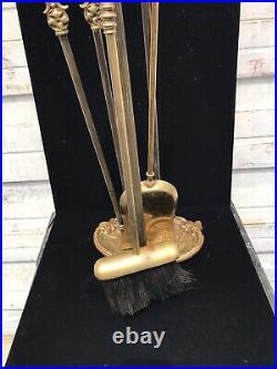 Vintage Antique ORNATE Cast Brass 5 pcs Fireplace Hearth Tool Set