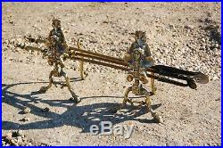 Vintage Antique Solid Brass Fireplace Fireside Companion Set Tools & Dogs Stands