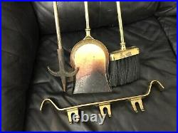 Vintage/Antique Solid Brass Fireplace Tool Set (4 Pieces)