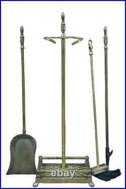 Vintage Art Deco Hollywood Regency 4 Piece Brass Fireplace Tool Set & Stand