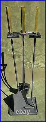 Vintage Art Deco Modern Brass Iron Fireplace Tool Set 3pc Stand