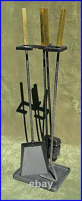 Vintage Art Deco Modern Brass Iron Fireplace Tool Set 3pc Stand