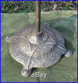 Vintage Art Nouveau Deco Hammered Iron Brass Fire place Tool Set 3pc Stand