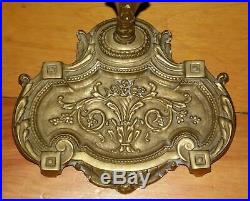 Vintage Art Nouveau Solid Brass Victorian Style Fireplace Tools Set & Stand