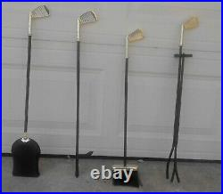 Vintage Artisan Brass Metal Golf Club Handle Fireplace Tool Set 5 pcs withStand