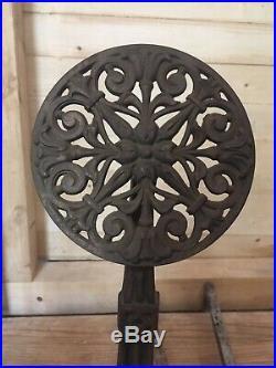 Vintage Arts And Crafts Andirons Fireplace Tool Set Metal