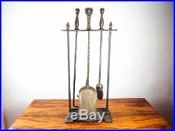 Vintage Arts & Crafts Fireplace Tools Fireside Iron Hearth Set Spanish Revival