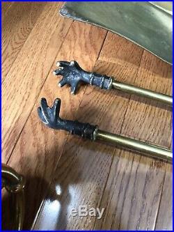 Vintage BRASS FIREPLACE POKER SET Fire Tool Shovel Premium High Quality 29