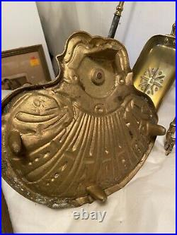 Vintage BRASS FIREPLACE TOOL SET Seashell Base. See12pics 4Detail/size. MAKE OFFER