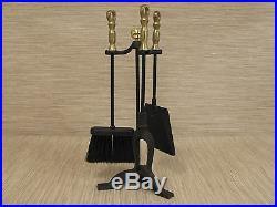 Vintage Black Cast Iron Three Piece Fireplace Tool Set Poker Broom Shovel