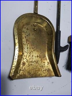 Vintage Brass 4-pc Fireplace Tools Set Art Deco Ring Stand Poker Brush Shovel