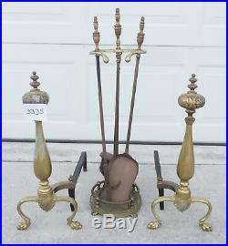 Vintage Brass Claw Foot Fireplace Andirons & Poker Tool Set #3335