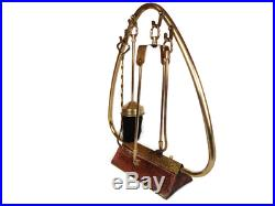 Vintage Brass Copper Fireplace Tools Companion Set with Stand