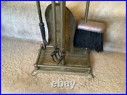 Vintage Brass Duck Head Fireplace 5 Piece Tool Set Stand Plus 4 Tools