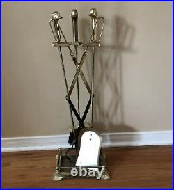 Vintage Brass Duck Head Fireplace Tool Set 5 Piece 4 Tools & Stand