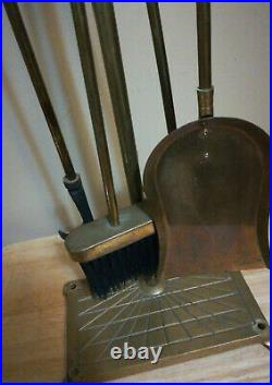 Vintage Brass Duck Head Fireplace Tool Set 5 Piece 4 Tools Stand Free Ship