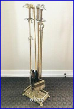 Vintage Brass Duck Head Fireplace Tool Set 6 Piece 5 Tools & Stand