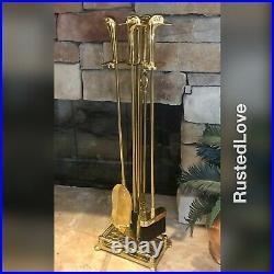 Vintage Brass Duck Head Fireplace Tool Set Beach Nautical Decorative 5 pcs