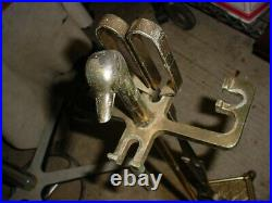 Vintage Brass Duck Head Fireplace Tool Set with 4 Tools and Stand