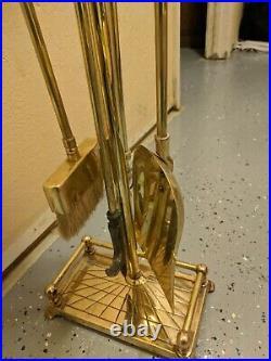 Vintage Brass Duck Heads Fireplace Set Tools Shovel, Brush, Poker Mallard, Tongs