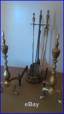 Vintage Brass Federal Style Finial Top Andirons & Finial Fireplace Tool Set
